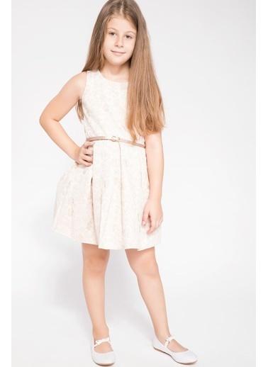 DeFacto Sim Desenli Prenses Model Elbise Ekru
